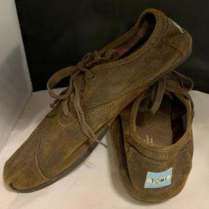 Toms Brown Canvas Lace Up Shoes Size 10.5